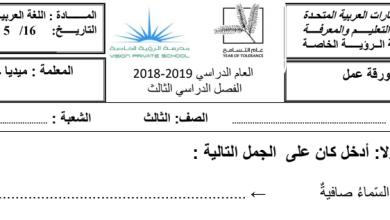 Photo of ورقة عمل جملة كان لغة عربية صف ثالث فصل ثالث