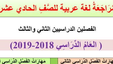 Photo of أوراق عمل مراجعة لمهارات الفصل الثاني والثالث لغة عربية صف حادي عشر