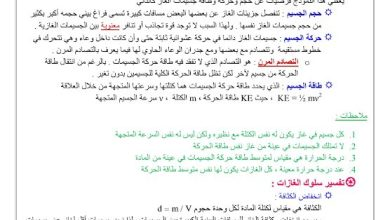 Photo of تلخيص وحلول درس حالات المادة أحياء صف تاسع متقدم فصل ثالث