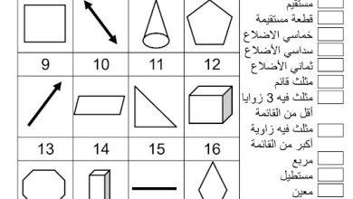 Photo of ورقة عمل الهندسة رياضيات صف ثالث فصل ثالث