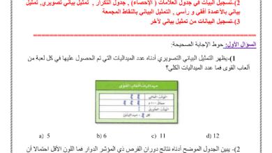 Photo of ورق عمل التمثيلات البيانية رياضيات صف ثالث فصل ثالث