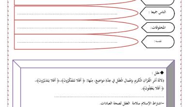 Photo of ورقة عمل نعمة العقل تربية إسلامية صف خامس فصل ثالث