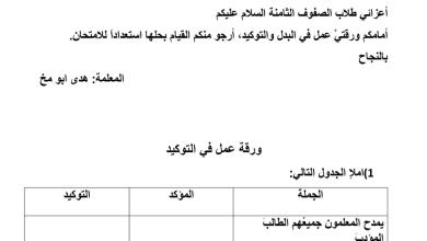Photo of صف ثامن فصل ثاني لغة عربية أوراق عمل التوكيد
