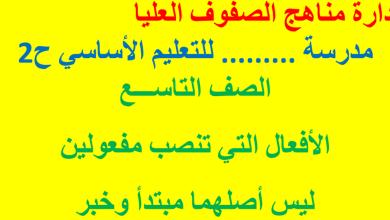 Photo of صف تاسع فصل ثاني لغة عربية الأفعال التى تنصب مفعولين ليس اصلهما مبتدأ وخبر