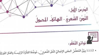 Photo of حل درس الهاتف المحمول لغة عربية صف ثامن فصل ثاني