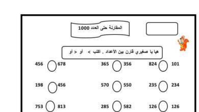 Photo of صف أول فصل ثاني رياضيات ورق عمل مقارنة الأعداد