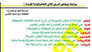 Photo of صف خامس فصل ثاني علوم  مراجعة درس العناصر