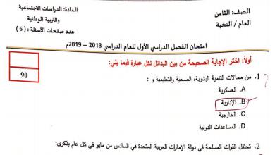 Photo of صف ثامن دراسات اجتماعية امتحان نهاية الفصل الأول 2018