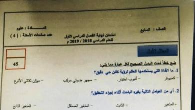 Photo of امتحان نهاية الفصل الأول 2018 علوم صف سابع فصل أول