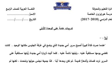 Photo of صف رابع لغة عربية تدريبات عامة على الوحدة الأولى فصل أول