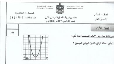 Photo of امتحان نهاية الفصل الأول 2017 رياضيات صف عاشر عام