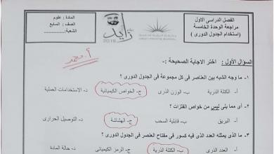 Photo of صف سابع فصل أول علوم  امتحان في الوحدة الخامسة استخدام الجدول الدوري