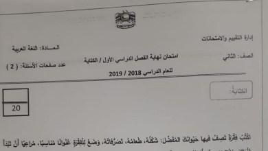Photo of ثاني لغة عربية امتحان الكتابة 2018