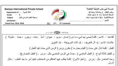 Photo of ثالث لغة عربية أوراق مراجعة الفصل الأول