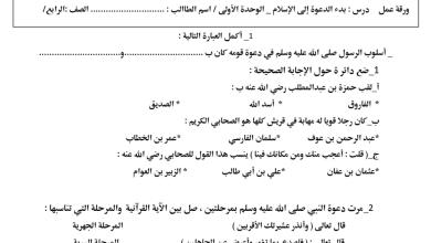 Photo of ورقة عمل بدء الدعوة إلى الإسلام تربية إسلامية صف رابع فصل أول