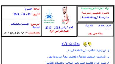 Photo of ورق عمل السلاسل والشبكات علوم صف ثالث فصل أول