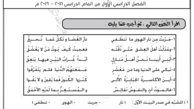 Photo of اختبار تدريبي ثاني أرق على أرق لغة عربية صف ثاني عشر فصل أول