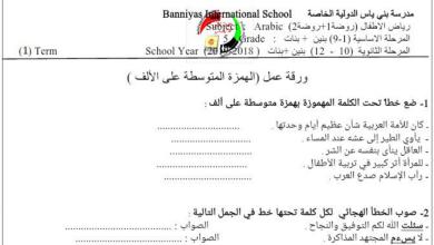 Photo of ورقة عمل الهمزة المتوسطة على الألف لغة عربية صف خامس فصل أول