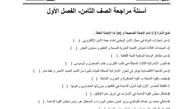 Photo of أوراق عمل مراجعة دراسات اجتماعية صف ثامن فصل أول