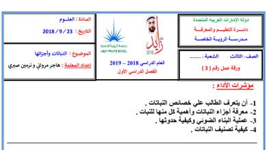 Photo of أوراق عمل النباتات وأجزائها علوم صف ثالث الفصل الاول