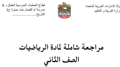 Photo of مراجعة شاملة للفصل الأول رياضيات صف ثاني