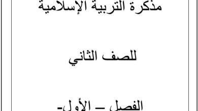 Photo of مذكرة عمل تربية إسلامية صف ثاني فصل أول