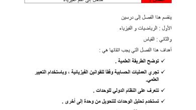 Photo of مدخل إلى علم الفيزياء للصف العاشر المتقدم الفصل الدراسي الاول