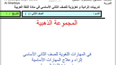 Photo of تدريبات إثرائية وتعزيزية في اللغة العربية للصف الثاني