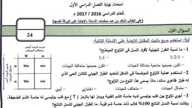 Photo of امتحان نهاية الفصل الأول 2016 أحياء للصف الثاني عشر متقدم