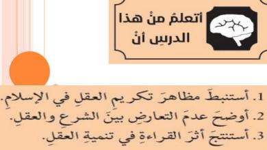 Photo of العقل في الإسلام تربية إسلامية فصل أول صف عاشر