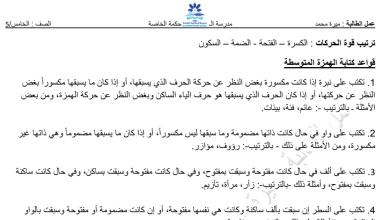 Photo of تدريبات على قواعد كتابة الهمزة لغة عربية صف خامس