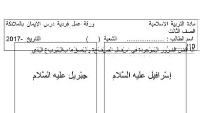 Photo of ورقة عمل ثانية حول درس الإيمان بالملائكة تربية إسلامية فصل أول صف ثالث