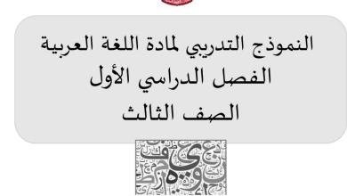 Photo of النموذج التدريبي لمادة اللغة العربية الفصل الأول الصف الثالث