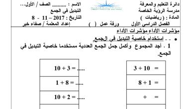 Photo of ورقة عمل التبديل في الجمع رياضيات فصل أول صف أول