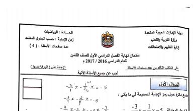 Photo of امتحان نهاية الفصل الأول رياضيات صف ثامن 2017