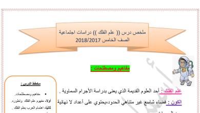 Photo of ملخص درس( علم الفلك) + حل الأنشطة اجتماعيات  خامس