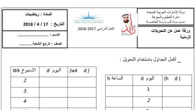 Photo of رياضيات مراجعة التحويلات المترية الصف الرابع الفصل الثالث