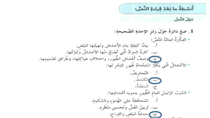 حل درس حكايات الاعشاش لغة عربية الصف السابع الفصل الثالث