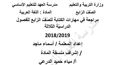 Photo of مراجعات في مهارة الكتابة لغة عربية للفصول الثلاثة صف رابع