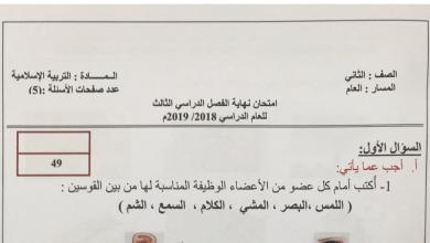 Photo of امتحان إسلامية صف ثاني الفصل الثالث 2018- 2019