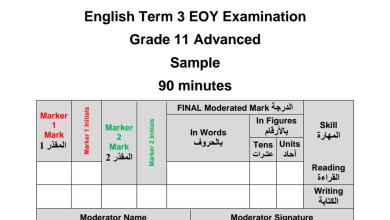 Photo of نموذج امتحان نهاية الفصل الثالث لغة إنجليزية صف حادي عشر