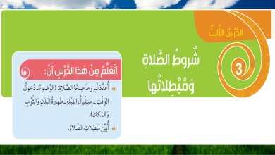 Photo of حل درس شروط الصلاة ومبطلاتها اسلامية الصف الثالث