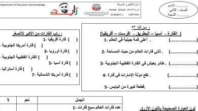 Photo of أوراق عمل نسبة اليابسة والماء علوم صف ثاني فصل أول