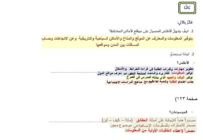 حل درس الأطالس والموسوعات