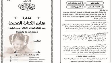 Photo of مذكرة تدريب على كتابة الحروف لغة عربية صف أول
