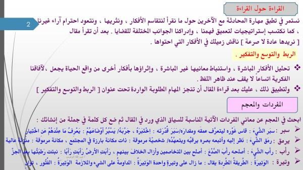 درس نريدها عادة لا صرعة لمادة اللغة العربية