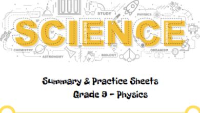 Photo of ملخص وأوراق عمل فيزياء منهج إنجليزي صف تاسع متقدم فصل أول
