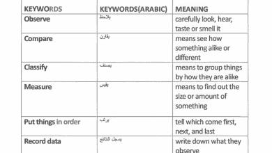 Photo of مفردات علوم منهج إنجليزي صف أول فصل أول
