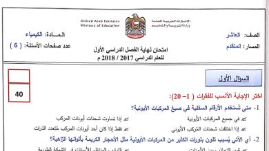 Photo of امتحان كيمياء الصف العاشر متقدم الفصل الأول 2018 – 2017
