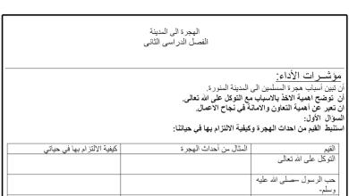Photo of ورقة عمل درس الهجرة الى المدينة تربية إسلامية الصف الخامس الفصل الثاني